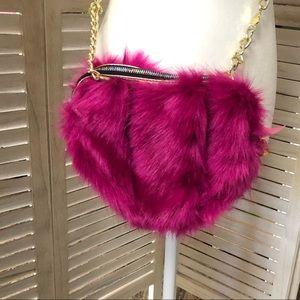 Betsey Johnson Pink Heart Shaped Fur Purse NWT